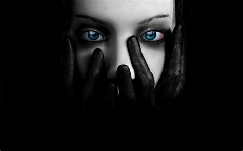 wallpaper black face eyes blue eyed covers her face with hands