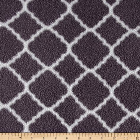 grey pattern fleece fabric fleece prints quatrefoil gray discount designer fabric