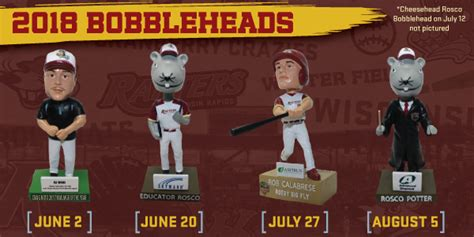 bobblehead giveaways 2018 rafters announce five bobblehead giveaways for 2018