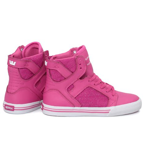 best kid shoes supra junior skytop pink hi top shoes trainers size 10 5