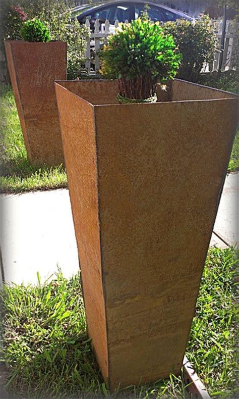 industrial steel planters contemporary outdoor pots