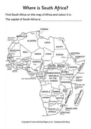 africa map activity south africa worksheets