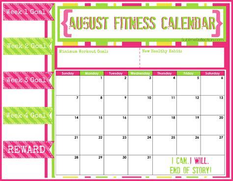 Fitness Calendar August Fitness Calendar Sublime Reflection