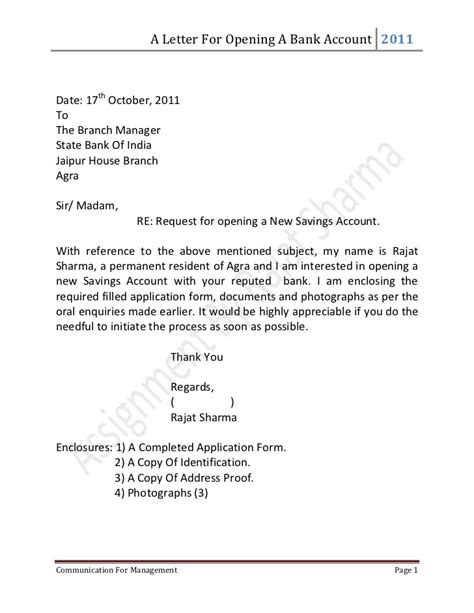 Business Letter Format Opening Letter For Opening A Bank Account