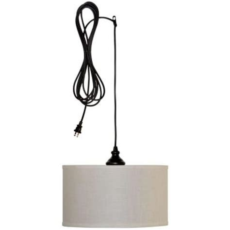 swag hanging ls home depot hton bay carroll 1 light oil rubbed bronze swag drum