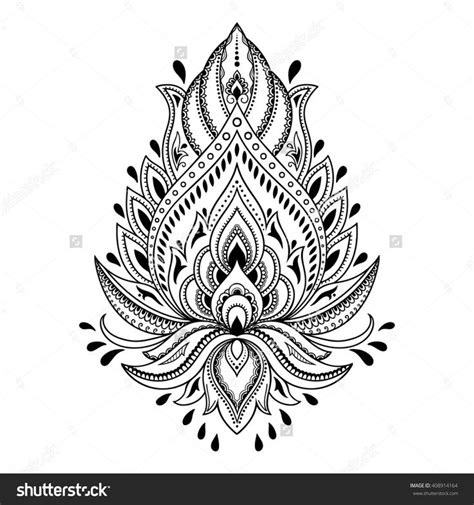 henna tattoo flower template in indian style ethnic