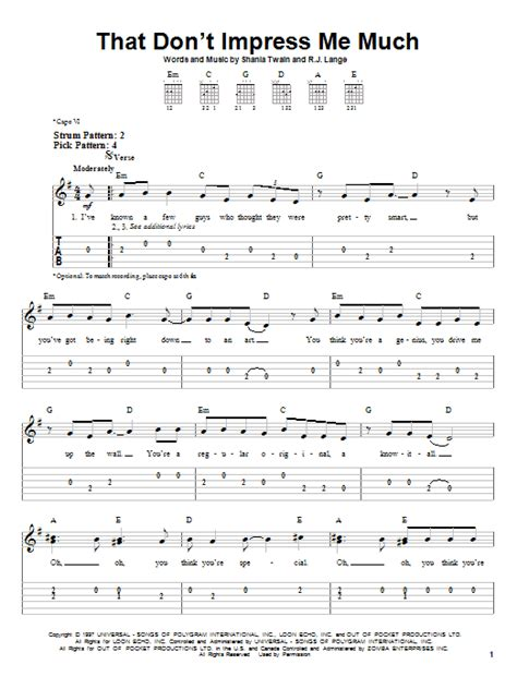 shania twain that dont impress me much tabs chords that don t impress me much by shania twain easy guitar