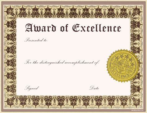 best award of excellence template word with classic font