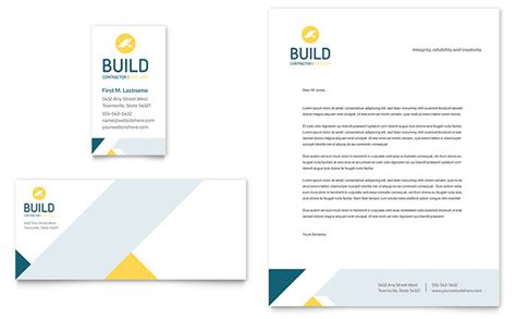 business card stationery template contractor business card letterhead template design