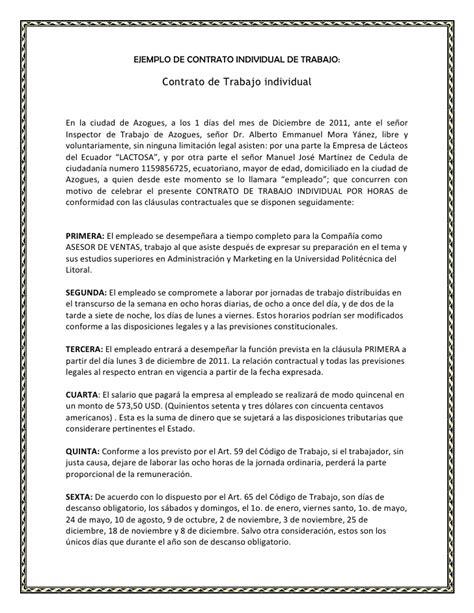 Carta De Trabajo Individual Requisitos Contrato Individual De Trabajo