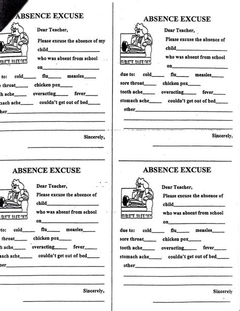 Excuse Letter Check Up sle excuse letter for absent college student exle