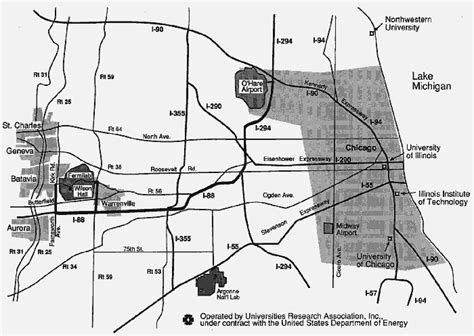 chicago map landmarks where is fermilab
