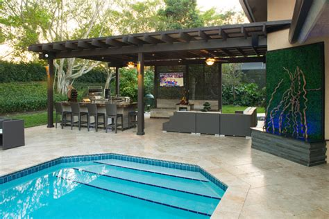 Outdoor Kitchen Pergola by Outdoor Kitchen And Pergola Project In South Florida