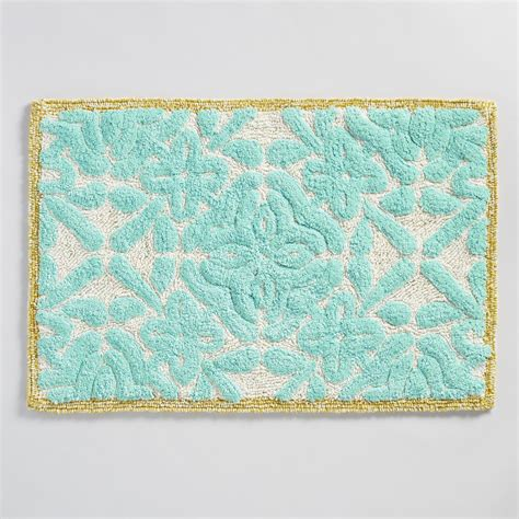 Aqua Bathroom Rugs Aqua Floral Tile Tufted Bath Mat World Market