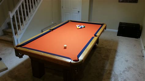 used pool table assembly with denver broncos pool table