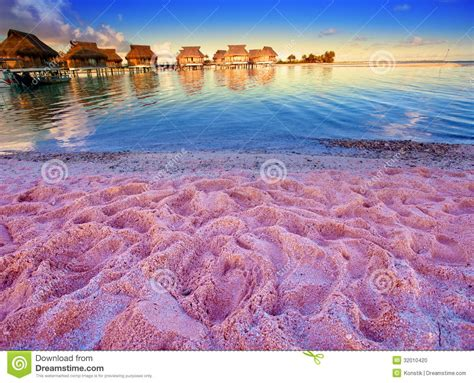 House Plans For Florida Beach With Pink Sand And Lodges On Water Stock Photo