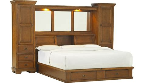 King Size Storage Headboard Sonoma Valley King Wall Bed With Storage Platform Havertys Furniture Beds With Bookcase