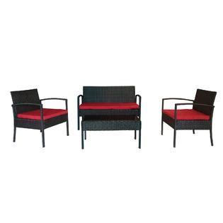the hom 4 piece teaset patio conversation set red
