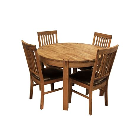 Solid Oak Dining Room Sets by Glasswells Royale Round Dining Table And 4 Bicast Leather