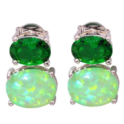 green opal earrings green fire opal green quartz women jewelry gems silver