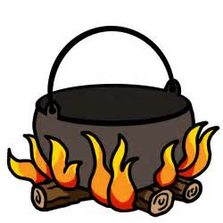 Color clip art illustrating a pot on a fire use with camping theme