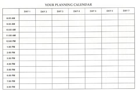 schedule grid template blank calendar page blog title