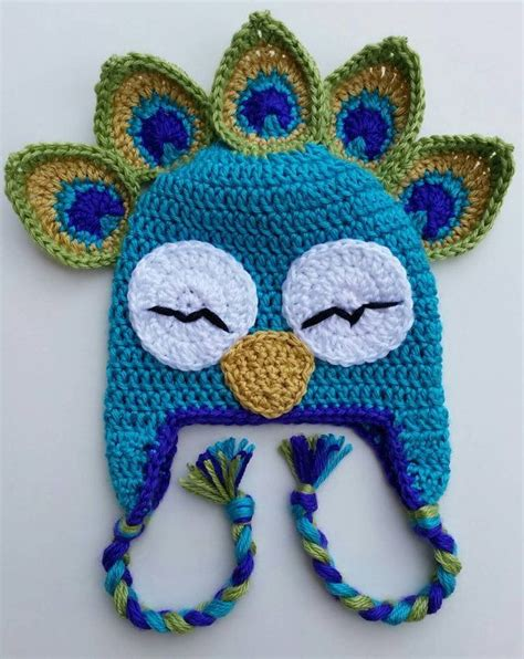 Animal Hat peacock bird animal hat crochet infant child by