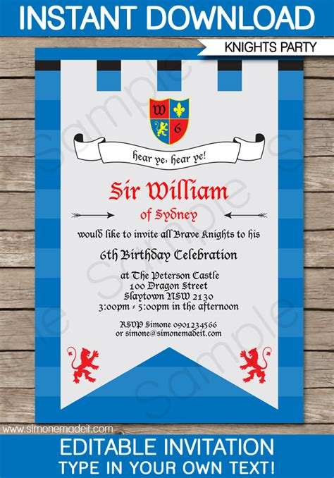 Knight Party Invitations Template Knights Birthday Party And Invite Template