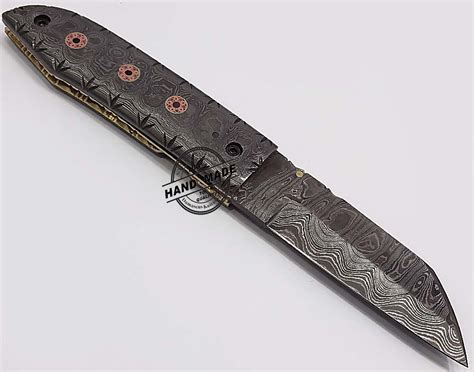 Handcrafted Pocket Knives - damascus folding liner lock knife custom handmade