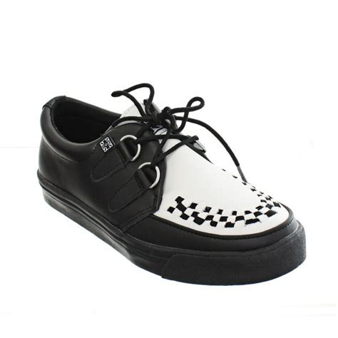 S W A T Black Leather Black White womens mens tuk shoes black and white leather sneaker