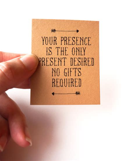 Wedding Invitation No Gifts Only by Your Presence Is The Only Present Desired No Gifts Invitation