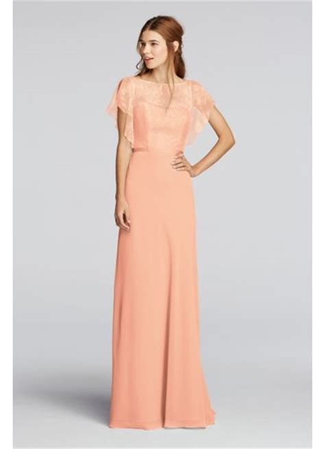 Sleeve Chiffon Dress chiffon dress with cascading lace sleeves david s bridal