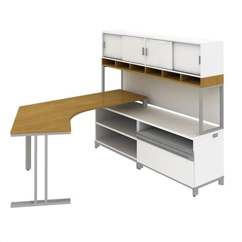 Modern Desk With Hutch Bush Bbf Momentum Right L Shaped Desk With Hutch In Modern Cherry Mom060rmc