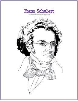 music composer coloring pages franz schubert free composer coloring page digital print
