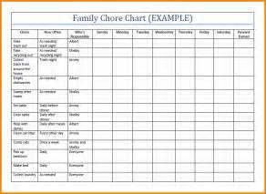 family chore chart template 8 chore chart template cashier resume