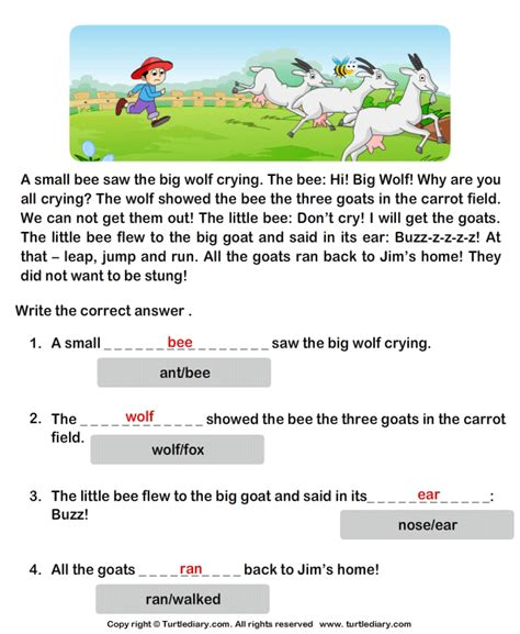 reading comprehension stories turtlediary