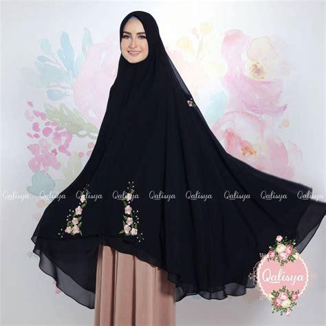 Khimar Ceruty Layer khimar najah by qalisya jilbab bordir bahan ceruty 2 layer