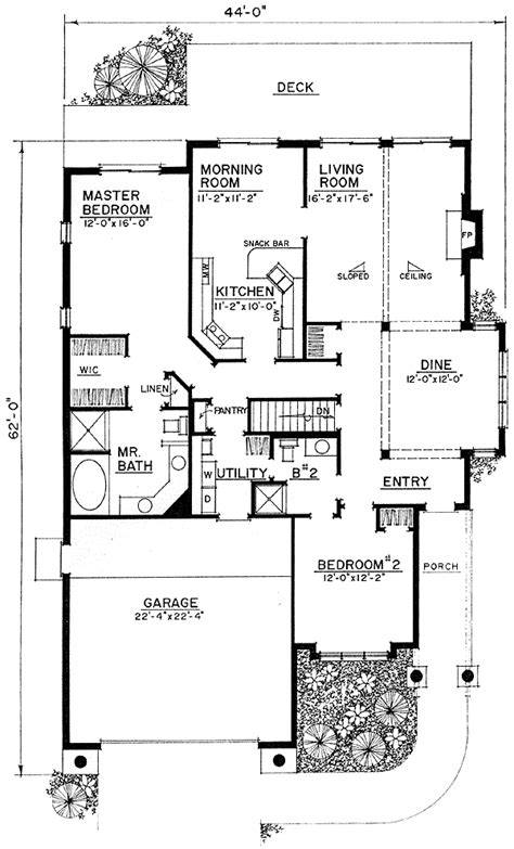 narrow lot house plan with handicap features 43008pf