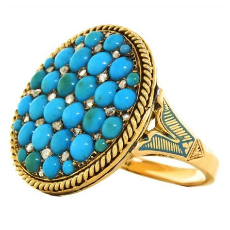 antique enamel turquoise roped gold ring