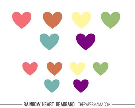 colored hearts rainbow headband diy for the