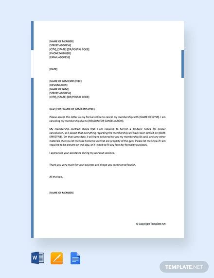 gym membership cancellation letter template word