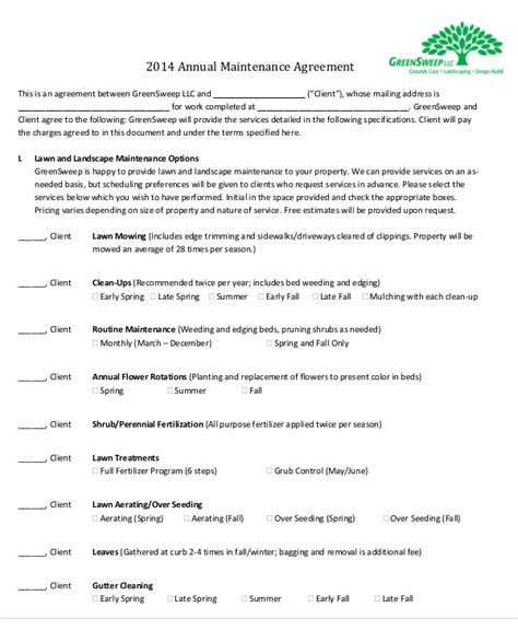 Maintenance Agreement Templates 8 Free Word Pdf Format Download Free Premium Templates Maintenance Contract Template Free