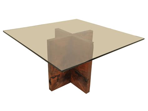 Dining Room Table Glass Top Wood Base Square Glass Top Table With Crossed Brown Wooden Legs Of