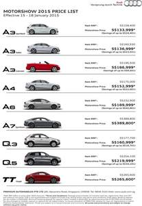 List Of Audi Cars And Their Prices Singapore Motorshow 2015 Audi Deals Promotions And Price List