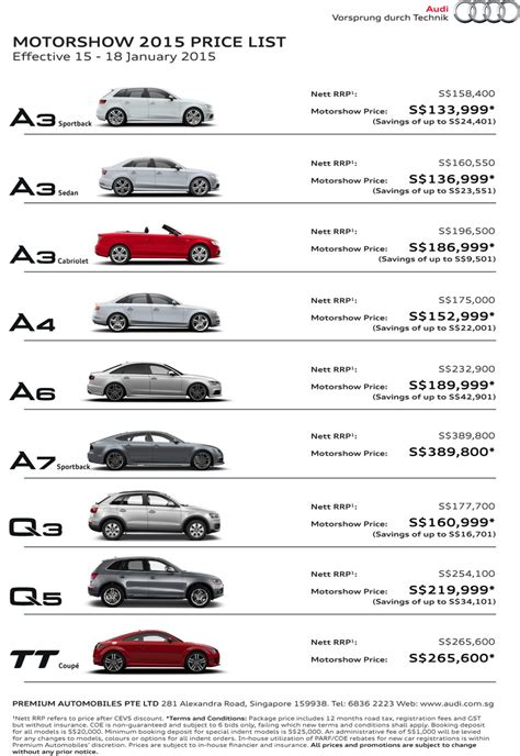 Audi A4 Options Price List by Audi 2015 List Price New Car Release Date And Review