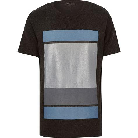 Tshirt Guko Grey river island grey colour block print t shirt in gray for lyst