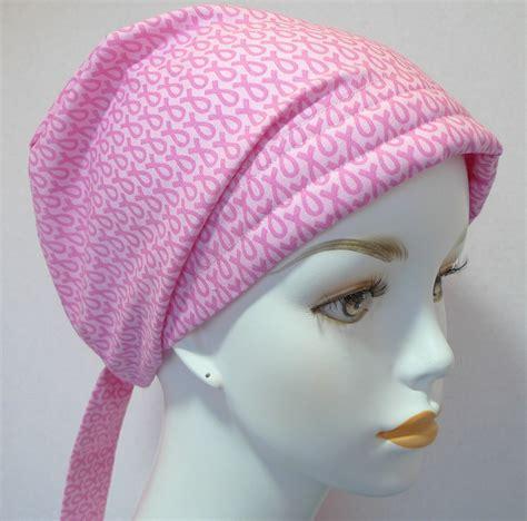 breast cancer pink ribbon hat chemo scarf turban wrap