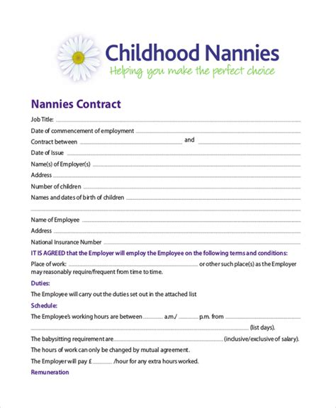 nanny agreement contract nanny work agreement 10 sle