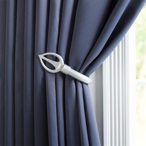 curtain holdbacks home depot lavish home spear holdback pair in silver 63 19510a s