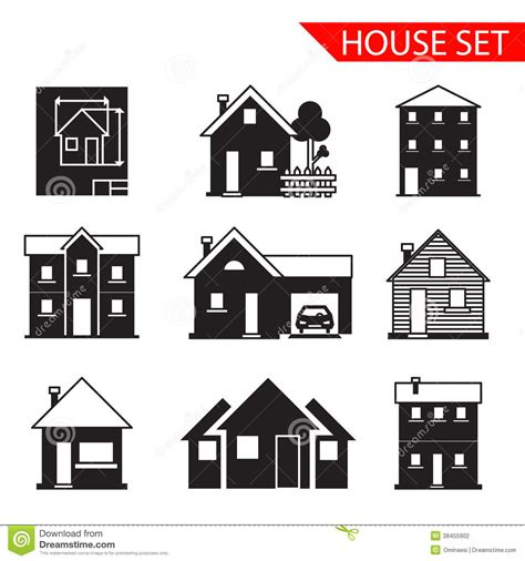 set houses drawings stock photo photo vector illustration house silhouette icons set isolated vector stock vector